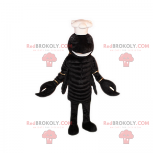 Mascota de langosta negra con gorro de cocinero - Redbrokoly.com