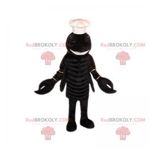 Schwarzes Hummermaskottchen mit Kochmütze - Redbrokoly.com