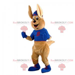 Känguru-Maskottchen mit T-Shirt und Mütze - Redbrokoly.com