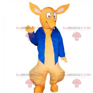Kangaroo maskot med blå jakke - Redbrokoly.com