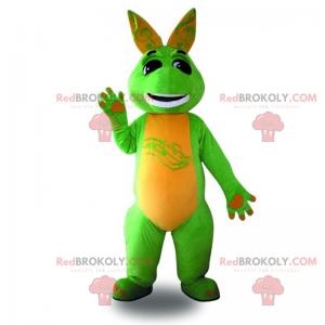 Mascota canguro verde y sonriente - Redbrokoly.com