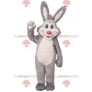 Kaninchenmaskottchen mit grünen Augen und rosa Nase -