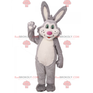 Rabbit mascot with green eyes and pink nose - Redbrokoly.com