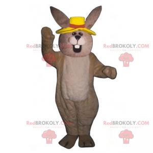 Béžový králičí maskot se žlutým kloboukem - Redbrokoly.com