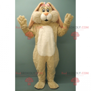 Beige rabbit mascot with two pink knots - Redbrokoly.com