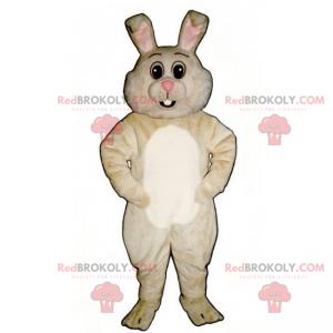 Maskot beige kanin og hvit mage - Redbrokoly.com