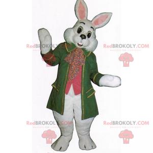 White rabbit mascot in green coat - Redbrokoly.com