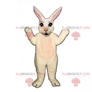 Weißes Kaninchenmaskottchen mit einer rosa Nase - Redbrokoly.com