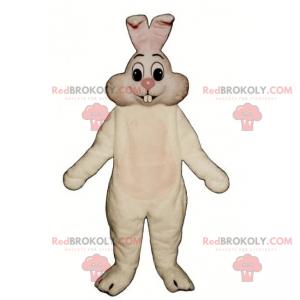 Bílý králík maskot s růžovým nosem - Redbrokoly.com