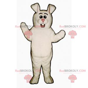 Weißes Kaninchenmaskottchen mit rosa Nase und runden Augen -