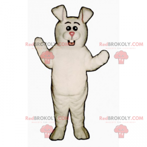 White rabbit mascot with a pink nose and round eyes -