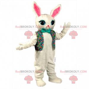 Maskot bílý králík v květinové bundě a motýlku - Redbrokoly.com