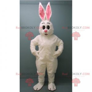 Hvit kaninmaskot med store rosa ører - Redbrokoly.com