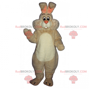 Hvit kaninmaskot med store kinn - Redbrokoly.com
