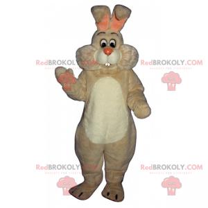 Maskot bílého králíka s velkými tvářemi - Redbrokoly.com