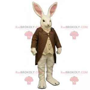 Maskot bílého králíka s kostkovaným kabátem - Redbrokoly.com