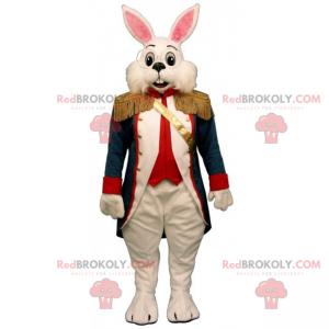 Weißes Kaninchenmaskottchen mit Mantel aus dem 17. Jahrhundert