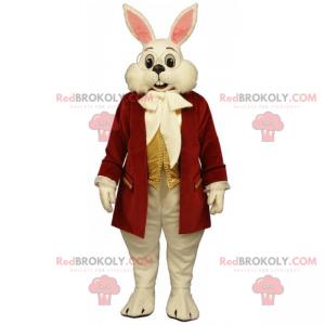 Biały królik maskotka z czerwonym płaszczem - Redbrokoly.com