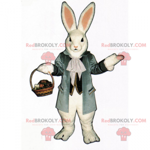 White rabbit mascot with wicker basket - Redbrokoly.com