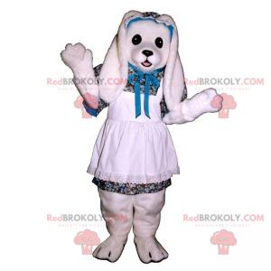 Maskot bílý králík s bílou krajkovou zástěrou - Redbrokoly.com