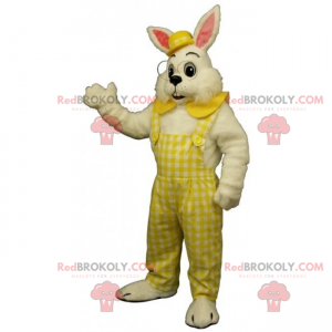 White rabbit mascot overalls and bowler hat - Redbrokoly.com