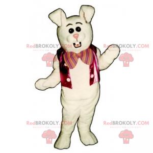 White rabbit mascot jacket and pink bow - Redbrokoly.com