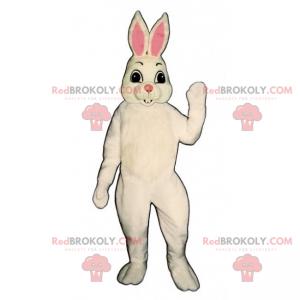 Biały królik maskotka i różowe uszy - Redbrokoly.com
