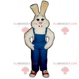 Maskot bílý králík a modré kombinézy - Redbrokoly.com