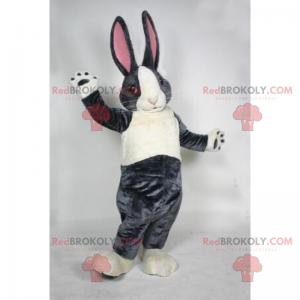 Šedý králík maskot s velkými růžovými ušima - Redbrokoly.com