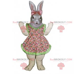 Szary królik maskotka z sukienką i różową kokardką -