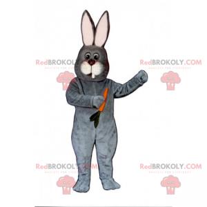 Gray rabbit mascot with his carrot - Redbrokoly.com