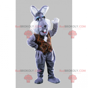 Gray rabbit mascot with brown jacket - Redbrokoly.com
