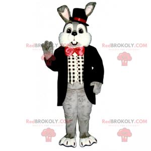 Szary królik maskotka i czerwona muszka - Redbrokoly.com