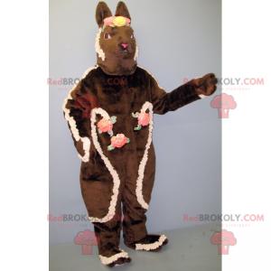 Brun kaninmaskot med blomsterkroner - Redbrokoly.com