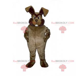 Braunes Kaninchenmaskottchen mit großen Zähnen - Redbrokoly.com