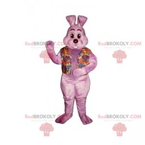 Rosa kaninmaskot med blomsterskjorte - Redbrokoly.com