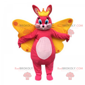 Pink rabbit mascot with crown and butterfly wings -