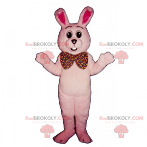 Pink rabbit mascot and giant bow tie - Redbrokoly.com