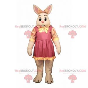 Hvit kaninmaskot med sløyfe og blomsterrose - Redbrokoly.com