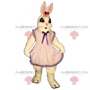 Biały królik maskotka w pasiastej sukience - Redbrokoly.com