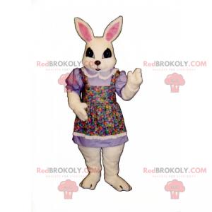 Mascot white rabbit in multicolored apron - Redbrokoly.com