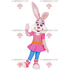Mascotte de lapine en robe rose avec des étoiles -