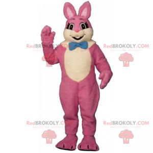 Růžový králík maskot s motýlkem - Redbrokoly.com