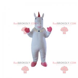Weißes Einhorn-Maskottchen mit rosa Beinen - Redbrokoly.com