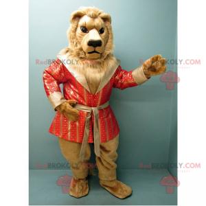 Maskot lva s luxusním lososovým županem - Redbrokoly.com