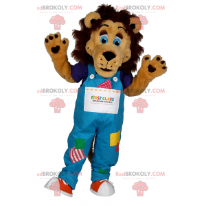 Lion mascot with blue eyes and overalls - Redbrokoly.com