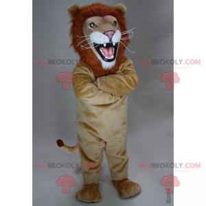Béžový maskot lva s ohnivou hřívou - Redbrokoly.com