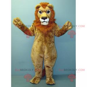 Beige Löwenmaskottchen mit roter Mähne - Redbrokoly.com