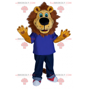 Lion mascot in jeans and sneakers - Redbrokoly.com