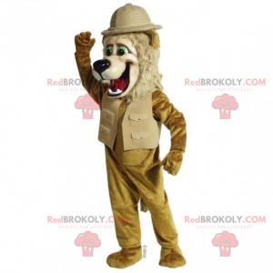 Maskot lva v obleku průzkumníka - Redbrokoly.com